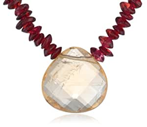 """Gold-Filled Garnet Roundel with Faceted Citrine Necklace, 17"""""""