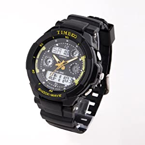TIME100 Dual-time Multifunction Yellow Bezel Sport Electronic Watch #W40017M.03A