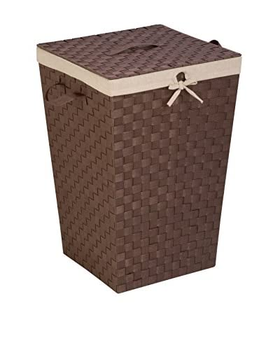 Honey-Can-Do Woven Strap Hamper with Liner and Lid, Java/Brown