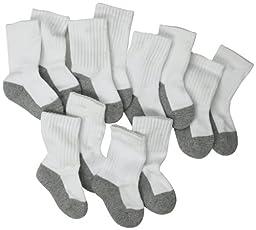 Jefferies Socks, Llc Unisex-baby Newborn 6 Pack Seamless Sport Half Cushion Crew Socks, White/Grey, 1-3 Months