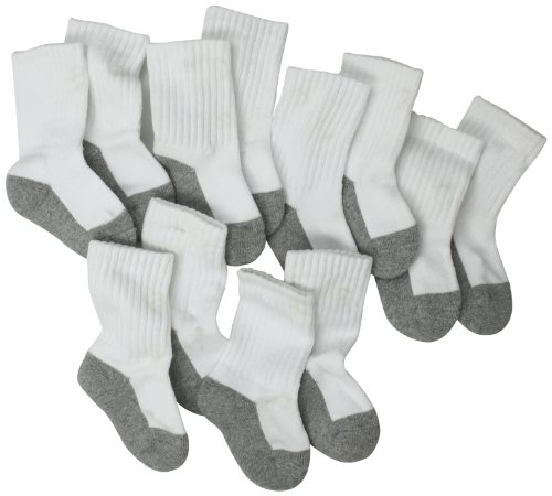 Jefferies Socks, Llc Unisex-baby Newborn 6 Pack Seamless Sport Half Cushion Crew Socks, White/Grey, 3-12 Months