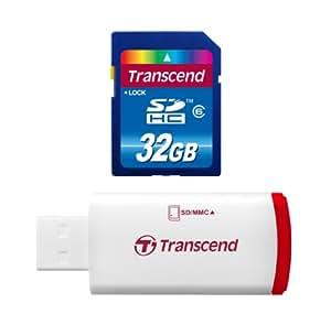 Transcend Hi-Speed SDHC 32GB Class 6 Speicherkarte mit USB Kartenleser