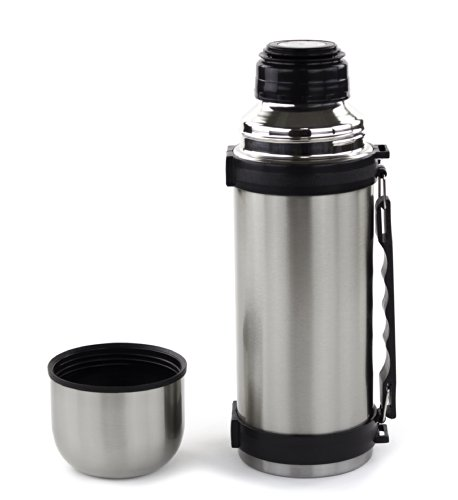 Stainless Steel 1L / 32 Oz. Capacity Vacuum Flask Bottle - Portable Hot Or Cold Beverage Container