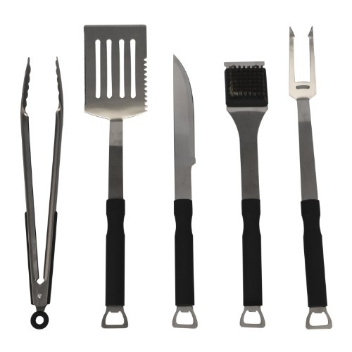 Flamen 5-Piece Stainless-Steel Bbq Set With Non-Slip Handles