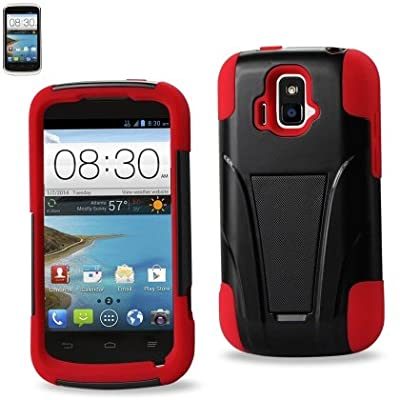 Premium High Quality ZTE Sonata 4G(Z740G) Two-pieces Design Hybrid Case (Silicone Case plus Hard Cover) with Kickstand(Brand New Item!!) by Reiko