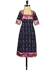 Unnati Silks Women Pracheen Kala Navy Blue Rajasthani Soft Cotton Kurta - B00XYBITR8