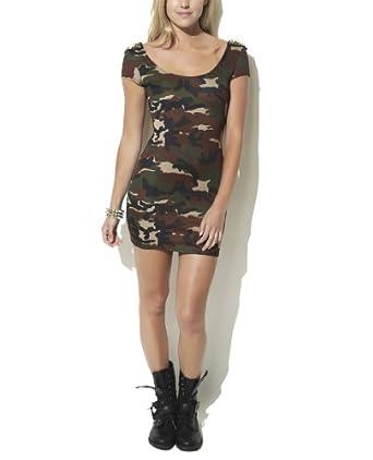 Wet Seal Women's Camo Stud Bodycon Dress L Camouflage