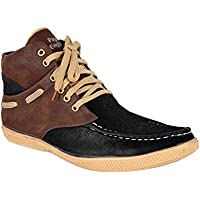 DLS Men's Ankle Length Synthetic Leather Shoes (7 UK, Brown & Black)