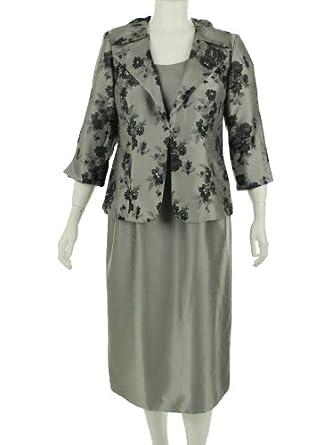 Jessica Howard Sleeveless Dress with Jacket Silver 14W