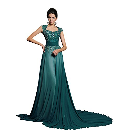 Zhiyuan Beaded Applique A Line Chiffon Mother Of Bride Dress With Court Train Us Size 4 Dark Green