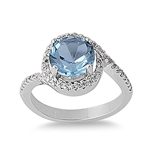 Sterling Silver Woman's Light Blue CZ Halo Ring Beautiful Band 11mm Size 10