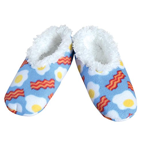 Bacon 'N Eggs Fleece Snoozies Slippers - Large