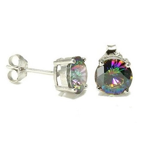 Bling Jewelry Sterling Silver Round Rainbow Mystic Topaz Color CZ Unisex Stud Earrings - 8mm