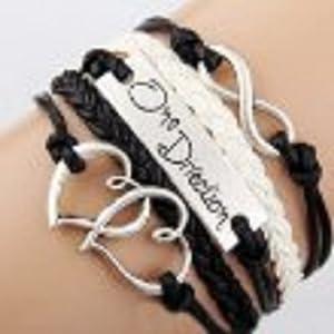 Bracelet Infini one direction et coeurs / Infinity / One Direction / Love - Noir / Blanc