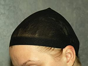 2 Pieces Deluxe Black Wig Cap