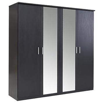 Bronte - Armario de 4 puertas correderas con espejo, efecto negro