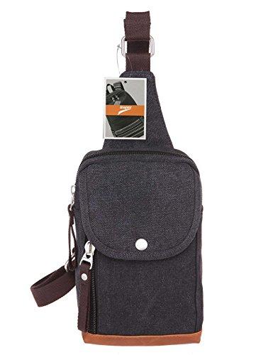 Leaper(リーパー) 斜め掛け 帆布 ワン ショルダーバッグ キャンバス ボディバッグ ブラック