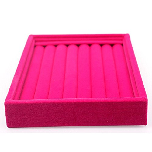 Faux Suede Jewelry Earrings Rings Display Organizer Box Tray Holder Case Storage Rose Red (Box Organizer Insert compare prices)