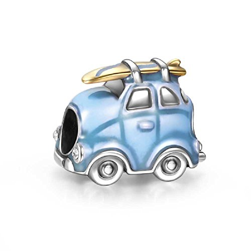 Soufeel 925 Sterling Silver Travel Car Blue Charm Fit European Charms Bracelets