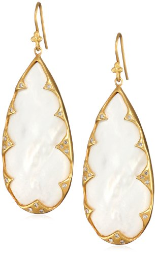Lauren Harper Collection Over the Moon 18k Gold, Mother-Of-Pearl and Diamond Pear Earrings