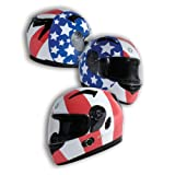 TORC T12B Blade Full Faced Helmet with Blinc 2.0 Stereo Bluetooth and Homeland Graphic (White XX-Large)