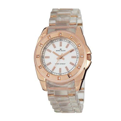 AK Anne Klein Women's 109378RGCL Swarovski Crystal Rosegold-Tone Clear Plastic Watch