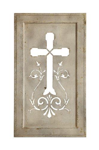 "42"" Distressed Cream Christian Cross Decorative Tin Plaque front-643249"