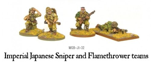 Imperial Japanese Sniper & Flamethrower Team Miniatures
