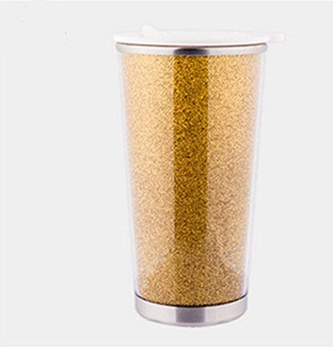 Kucob Anti-Slip Bottom Double Layer Stainless Steel Drink Tumbler Travel Coffee Mugs/Coffee Tea Cup With Plastic Double Wall Drinking Cup(Gold)