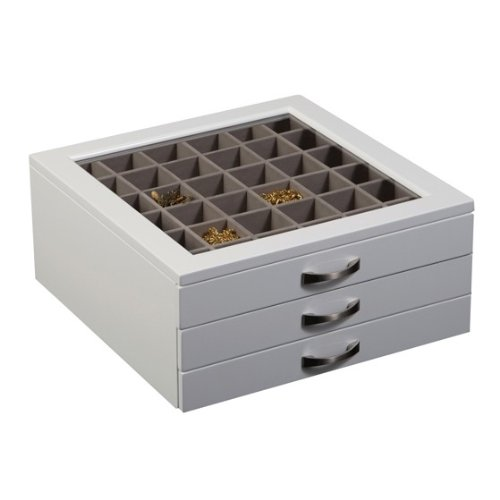 Mele & Co. Liza Glass Top White Jewelry Box