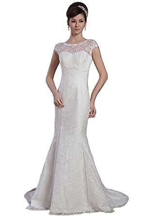 Angel Formal Dresses Mermaid Lace Jewel Dropped Waist Wedding Dress Amazon Fashion