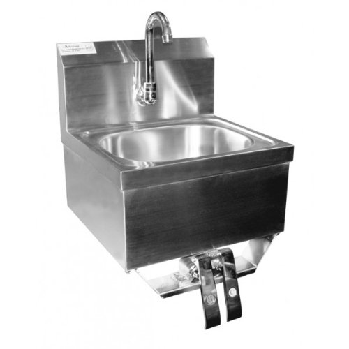 "ACE Stainless Steel Wall Mount Hand Sink 16"" x 15"" with Knee Operated Valve and Lead Free Faucet"