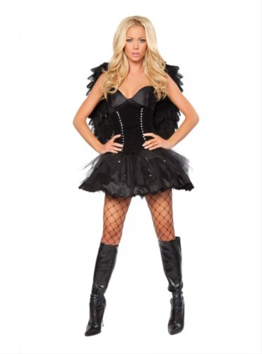 2pc Sexy Dark Angel Includes Dress with Rhinestone Tulle & Waist Cincher