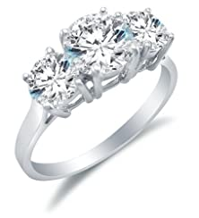 buy Size 6.5 - Solid 14K White Gold 3 Three Stone Round Brilliant Cut Solitaire With Round Side Stones Highest Quality Cz Cubic Zirconia Engagement Ring 2.0Ct.