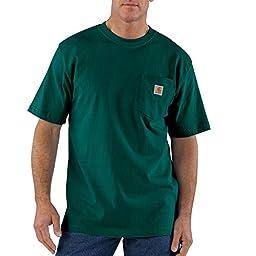 Carhartt Men\'s Big & Tall Workwear Pocket Short Sleeve T-Shirt Original Fit K87,Hunter Green,2X-Large Tall