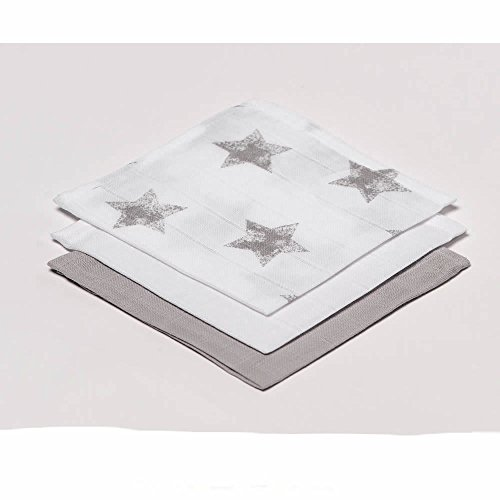100-Cotton-Muslins-Squares-3-pack-of-30cmx-30cm-Large-Grey-Stars