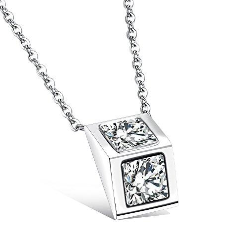 Diamante platino argento solido lucido collana croce , white