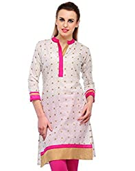 Awesome Fab White Color Cotton Fabric Women's Straight Kurti