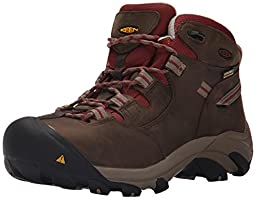 KEEN Utility Women\'s Detroit Mid Steel Toe Work Boot,Black Olive/Madder Brown,6.5 M US