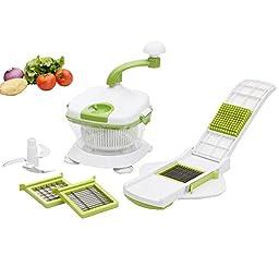 Foho Manual Food Processor, Salsa Mixer Maker, Spinner, Chop, Blend, Whip, Slice, Shred, Julienne & Juice