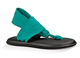 Sanuk Women\'s W Yoga Sling 2 Dress Flip-Flop, Teal, 11 M US
