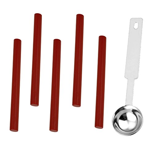 Yoption 1 Pcs Sealing Wax Melting Spoon + 5 Pcs No Cord Wicks Cylindrical Fire Manuscript Sealing Wax for Postage Letter Vintage Wax Seal Stamp (Chinese red) (Chinese Wax Seal compare prices)
