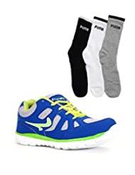 Elligator RoyalBlue Stylish Sport Shoes With Puma Socks For Men's