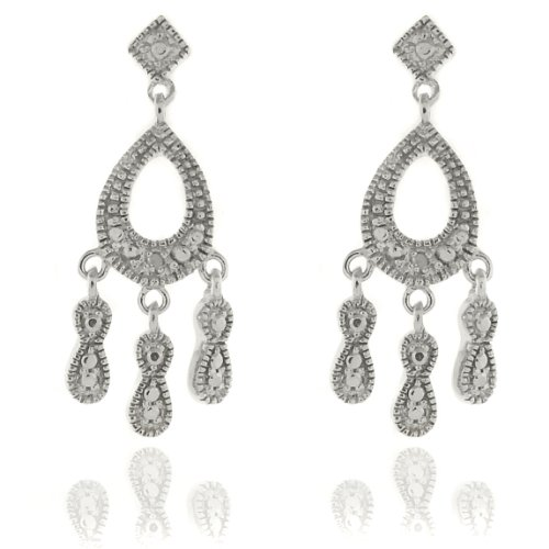 Silver Overlay Diamond Accent Teardrop Chandelier Drop Earrings