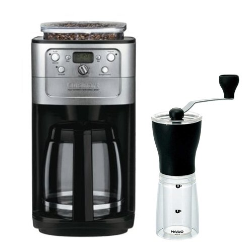 Cuisinart DGB-700BC Cuisinart Brushed Chrome Fully Automatic 12 Cup Grind & Brew Coffeemaker With Burr Grinder + Hario MSS-1B Mini Mill Slim Coffee Grinder