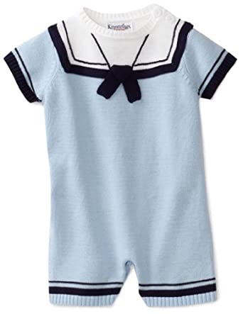 Hartstrings Baby-boys Newborn Sailor Sweater Romper, Sky Sulphur, 0-3 Months