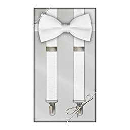 Suspender & Bow Tie Set (Adult, White)