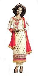 khodiyar Women White georgette semi-stiched suit