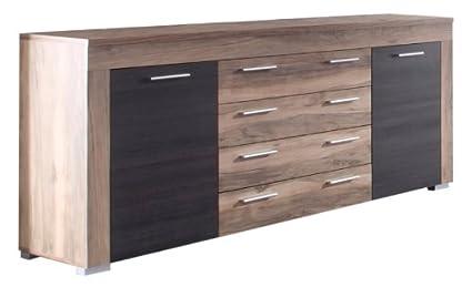 trendteam BM Sideboard Wohnzimmerschrank Kommode | Nussbaum Satin | 176 x 79 cm