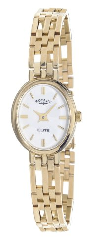 Rotary Ladies 9ct Gold Oval White Dial Bracelet Watch